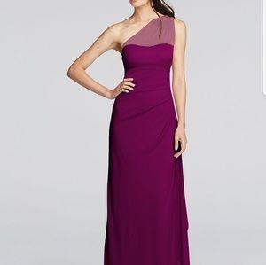 Sangria One Shoulder David's Bridemaid Dress